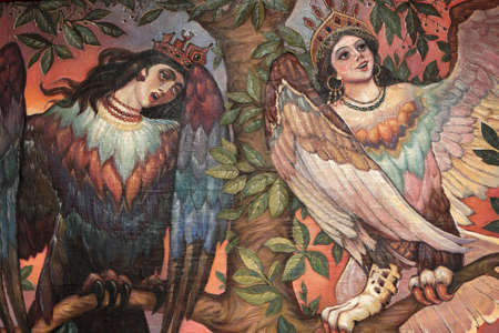 Angel and demon - old picture unknown artist photo