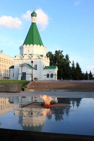made russia: The eternal flame and orthodox church in Nizhny Novgorod, Kremlin