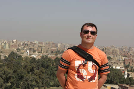 The man poses on Cairo background, Egypt Stock Photo - 5903048