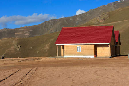 kirgizia: The detached house at the foot of a hill, Kyrgyzstan (Bishkek - Osh road)