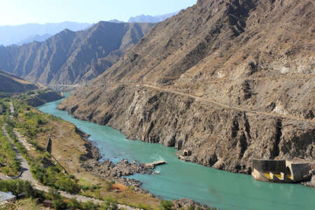 The Naryn River rises in the Tien Shan mountains in Kyrgyzstan, Central Asia