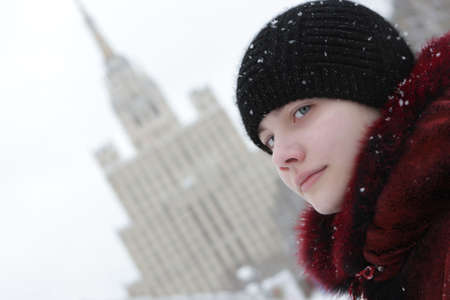 thee: Thee teen poses on a building background, Moscow