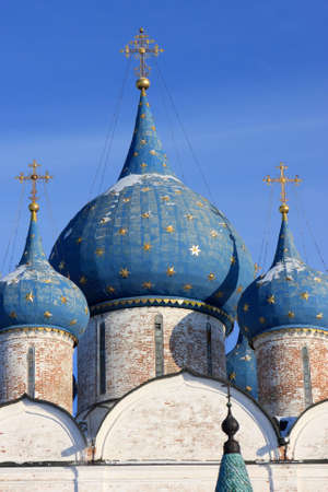 Blue cupola of the Nativity cathedral in Suzdal Kremlin, Russia. The Kremlin is the heart of Suzdal and the oldest part of it photo