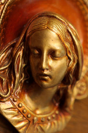 madonna: The ancient copper plate engraving of Mary Stock Photo