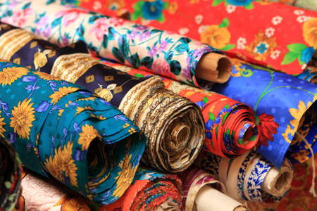 kelet ázsiai kultúra: Rolls of silk bedsheet in a chinese shop, Beijing