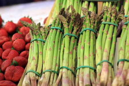 boqueria: Asparagus on La Boqueria Market in Barcelona, Spain Stock Photo