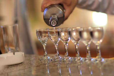 odessa: Pouring the vodka at a bar, Odessa, Ukraine Stock Photo