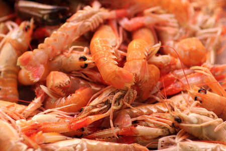 boqueria: Boiled prawns at La Boqueria market in Barcelona, Spain