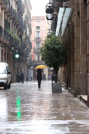 It is rain in gothic quarter of Barcelona  photo
