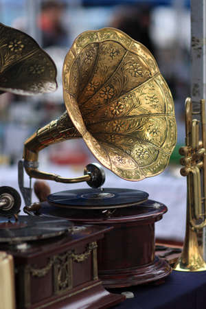 The gramophone as antiques on a market photo