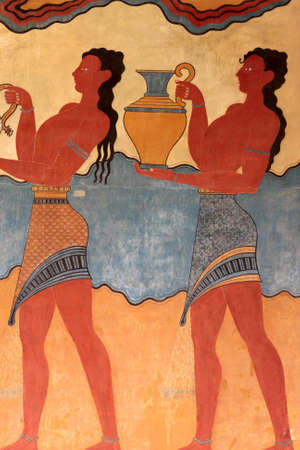 minoan: Detail of the frescoes of the Palace of Knossos. It is the largest Bronze Age archaeological site on Crete.