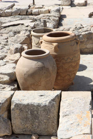 clay jars from the Palace of Knossos. It is the largest Bronze Age archaeological site on Crete. photo