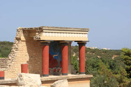 minoan: Minoan palace at Knossos. It is the largest Bronze Age archaeological site on Crete.