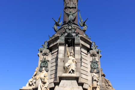 The Christoffel Columbus Monument was built in 1888 in honor of the renowned explorer and discoverer of America. It consists of a statue of Columbus standing on a tall column. Barcelona photo