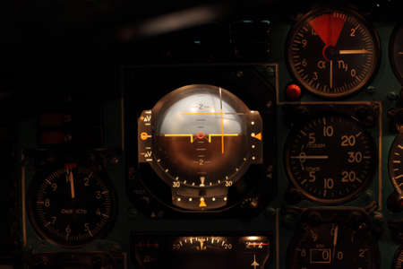 flight indicator - a navigational instrument based on a gyroscope; it artificially provides a simulated horizon for the pilot photo