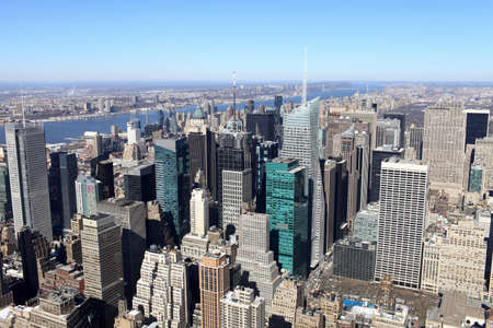 It is view of Manhattan in spring