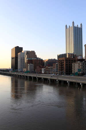 This is skyline of Pittsburgh in the evening photo