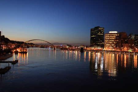 Pittsburgh skyline from bridge at night, USA, Pennsylvania photo