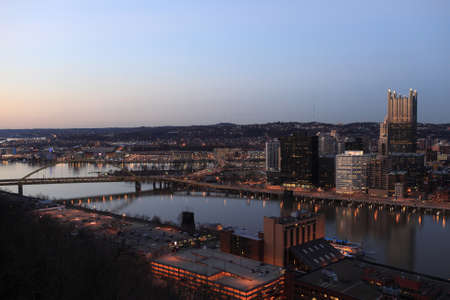 Skyline of Pittsburgh at night. View from Mount Washington photo
