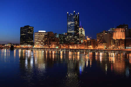 View of the Pittsburgh skyline from bridge Stock Photo