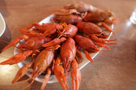 The red boiled crawfishs in armenian restaurant Stockfoto