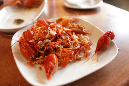 The red crawfish debris on the plate, Armenia photo