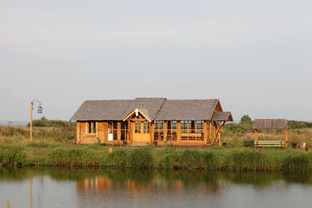 lake dwelling: This is summer house on the lakeside, Russia Stock Photo