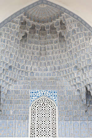 niches: Deep niches and diverse muqarnas decoration in Guri Amir complex in Samarkand, Uzbekistan Editorial
