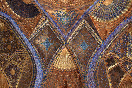 It is golden interior of Aksaray mausoleum, Samarkand, Uzbekistan