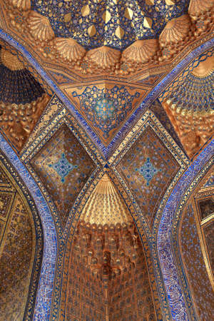 It is wall of Aksaray mausoleum, Samarkand, Uzbekistan Editorial
