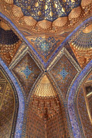 It is wall of Aksaray mausoleum, Samarkand, Uzbekistan 新聞圖片