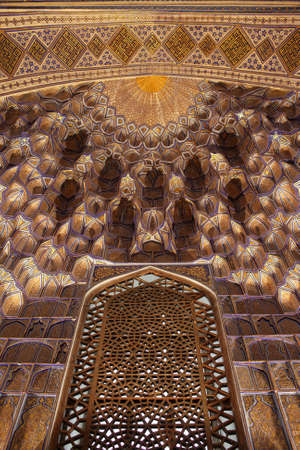 Golden decoration in Guri Amir. It is a mausoleum of the Asian conqueror Tamerlane in Samarkand, Uzbekistan