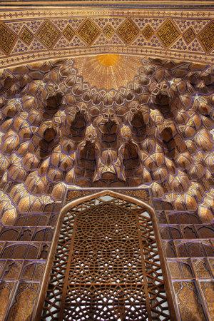 Golden decoration in Guri Amir. It is a mausoleum of the Asian conqueror Tamerlane in Samarkand, Uzbekistan