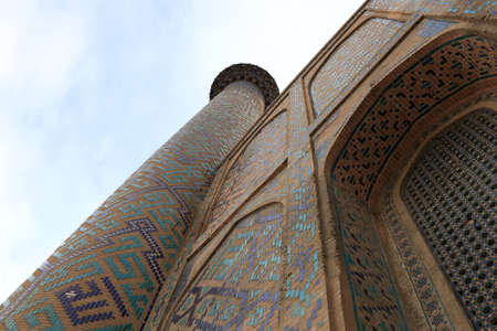Minaret of Madrasa of Ulugh Beg in Samarkand, Uzbekistan Stock Photo - 11126820