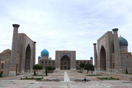 The three madrasahs of the Registan in Samarkand are: Ulugh Beg Madrasah (1417�1420), Tilya-Kori Madrasah (1646�1660) and the Sher-Dor Madrasah (1619�1636). Madrasah is an Arabic term meaning school. photo