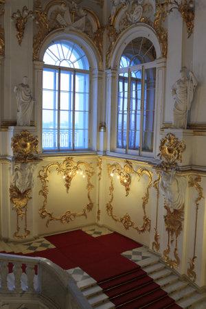 palacio ruso: Parte de la escalera principal del Palacio de Invierno, San Petersburgo, Rusia