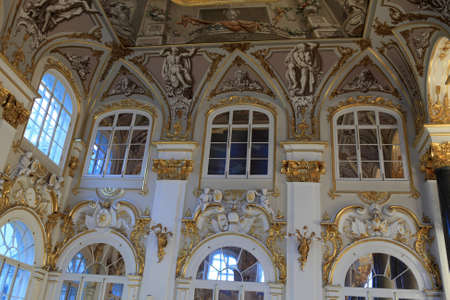 Wall of main staircase of the Winter Palace, Saint Petersburg, Russia
