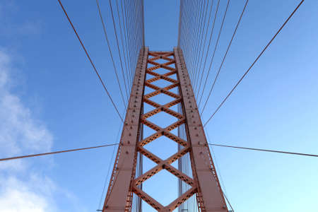 bridge construction: It is part of suspension bridge on the sky background