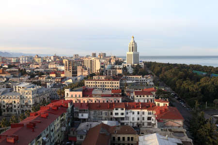 Skyline of Batumi. It is a seaside city on the Black Sea coast and capital of Adjara, an autonomous republic in southwest Georgia photo