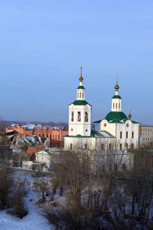 It is Krestovozdvizhenskaya church in winter, Tyumen, Siberia, Russia photo
