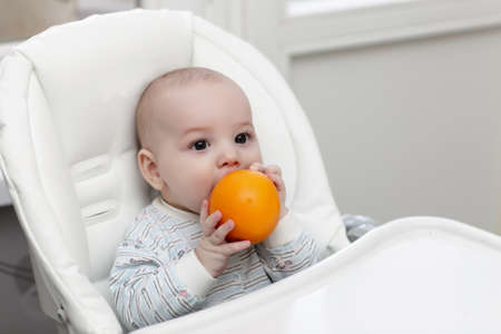 The baby boy biting orange in a highchair Stock Photo - 13008858