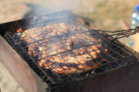 cooked meat: The cooked meat grill on barbecue in summer