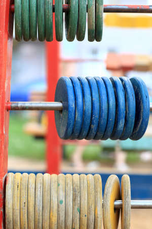 It is wooden abacus at the outdoor playground photo