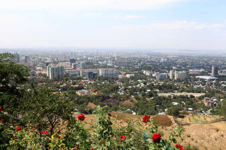 Almaty landscope and red roses, Southern Kazakhstan photo