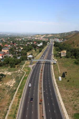 It is highway along Almaty in summer, Kazakhstan photo