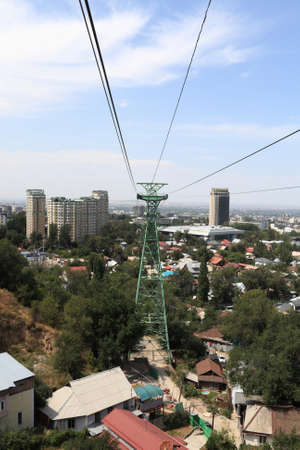 Tower of funicular in Almaty in summer, Kazakhstan Stock Photo