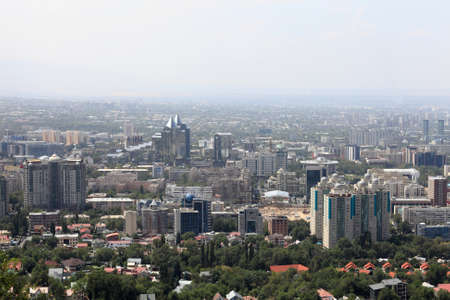 Skyline of Almaty city in summer, Kazakhstan Stock Photo