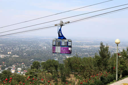 Funicular to Kok Tobe mount in Almaty, Kazakhstan Stock Photo