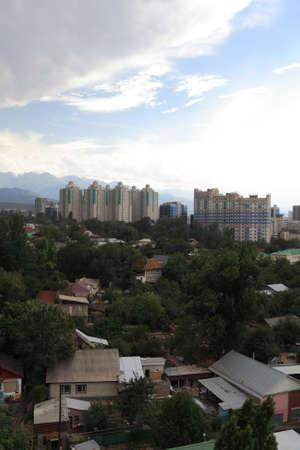 Housing estate in Almaty in summer, Southern Kazakhstan photo