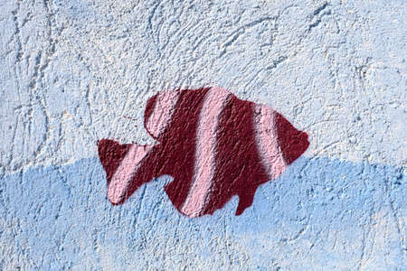 The painted fish on the wall, Greece photo